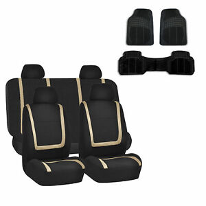 Car Seat Covers Beige Black Set For Auto W carpet Floor Mats