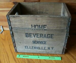 Home Beverage Seltzer Bottle Crate Wooden Storage Box Shipping Vintage Ny
