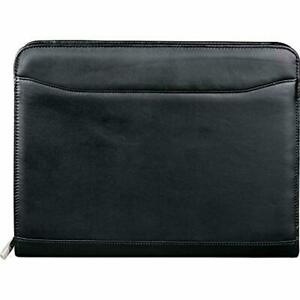 Leed s Leather Zip Around Padfolio Organizer With Letter Pad Black