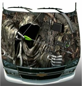 Oak Camo Grim Reaper Bow Hunting Hood Wrap Sticker Vinyl Decal Graphic