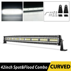 42 Inch 1050w Curved Led Light Bar 3 Tri row Combo Off road Driving Work Mpv 44