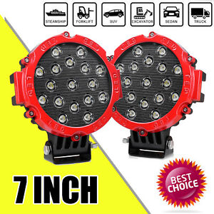 7inch 204w Led Work Light Bar Round Spot Beam Offroad 4wd Suv Driving Fog Lamp