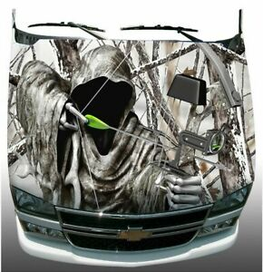 Snow Winter Camo Grim Reaper Bow Hunting Hood Wrap Sticker Vinyl Decal Graphic