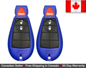 2x New Replacement Keyless Entry Remote Blue Key Fob For Chrysler Dodge Jeep