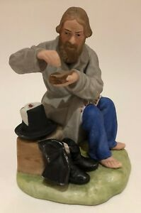 Imperial Russian Gardner Painted Bisque Porcelain Figure Of A Peasant Salting Br