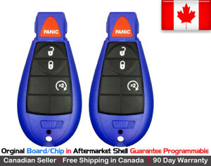 2 oem Blue Replacement Keyless Entry Remote Key Fob For Chrysler Dodge Jeep