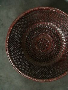 Japanese Antique Woven Bamboo Lacquer Ware Bamboo Basket Fruit Storage Basket