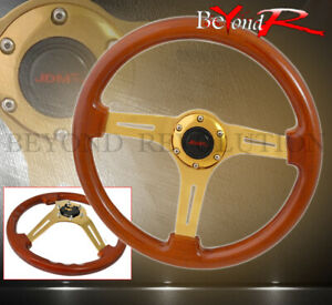 For Ford 6 bolt Pattern Classic Wood Grain Brown Steel Center Steering Wheel