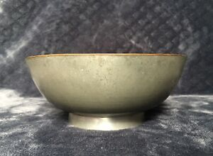 Antique Vintage Chinese Export Pewter Footed Bowl