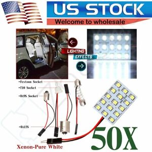 50x 15smd 3528 Led Panel Interior Dome Map Light Ba9s T10 1156 Festoon Adapter