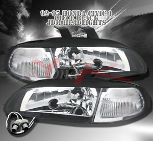 For 1992 1993 1994 1995 Honda Civic Sedan 4dr Jdm Black Headlights Headlamps Set
