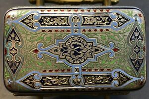 Antique Imperial Russian Enamel Silver Cigarette Case Ovchinnikov