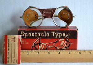 Vintage Cesco Spectacle Goggles Safety Steampunk Glasses W Leather Side Shields