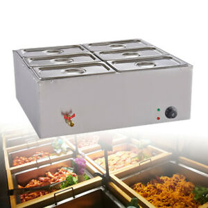 6 pan Food Warmer Steam Table Steamer Large Capacity Restaurant Electric 850w