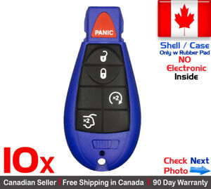 10x Blue New Replacement Keyless Entry Remote Key Fob Case For Jeep Shell Only