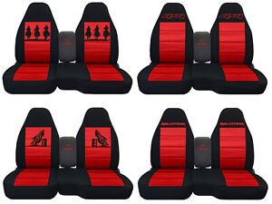 Fits Ford Ranger truck Car Seat Covers 60 40 console Not Included Blk red