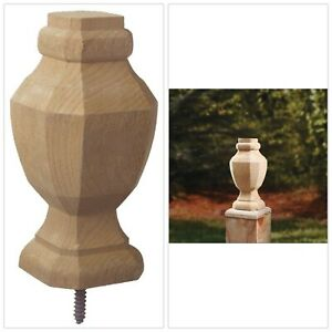 Post Cap Finial Wooden Pressure Treated Octagon Shape Wood 2 75 X 6 75 6pck