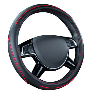 Car Pass Car Steering Wheel Cover Red Black Color Pu Leather Universal Antidust