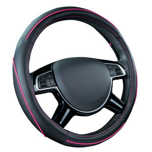 Car Pass Car Steering Wheel Cover Pink Color Pu Leather Waterproof Anti slip Fit