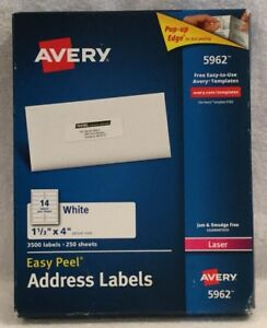 Avery 5962 Easy Peel Mailing Address Labels Laser 1 1 3 X 4 White 3500 box New