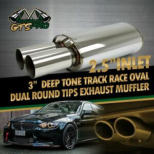 Street Performance 1x Oval Na Deep Tone Sport Exhaust Muffler Dual Round Tips