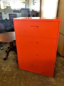 4 Drawer Lateral Size File Cabinet By Steelcase Office Furniture 36 w In Orange