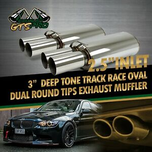 Street Performance 2x Oval Na Deep Tone Sport Exhaust Muffler Dual Round Tips