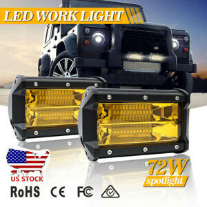 2x 5inch 72w Led Spot Cube Work Lights Driving Pods Off Road Fog Lamp Bar Bright