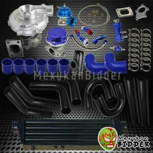 Universal 2 5 Black Intercooler Piping Turbo Kit W Wastegate bov couplers Blue