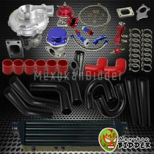 Universal 2 5 Black Intercooler Piping Turbo Kit W Wastegate bov couplers Red