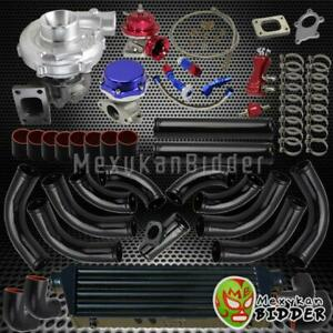 Universal Stage 3 T3 t4 Turbo Charger Kit W Piping intercooler coupler Black