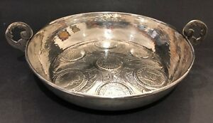 Rare Antique 19c Sterling Silver Spanish Colonial Coin 7 Dish