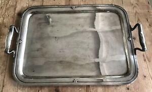 Vintage Large 18 Silver Plated Serving Tray Platter Gothic Pattern Carmel