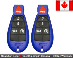 2x Blue New Replacement Keyless Entry Remote Key Fob For Dodge Chrysler