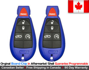 2x Oem New Replacement Keyless Entry Remote Blue Key Fob For Dodge Chrysler