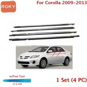 4pc Weatherstrip Window Moulding Trim Seal Belt Chrome For Corolla 2009 2013
