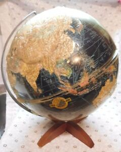 Vintage Tru Vue World Globe Replogle Map Black On Stand Lucite Cover Starlight