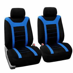 Front Bucket Car Seat Covers For Auto Car Suv Van Blue Black Universal Fitment