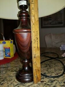 Vintage Small Wooden Lamp With Floral Fabric Shade 16 Tall