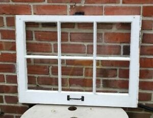 20 28 6 Pane Wood Window Rustic Antique Vintage Farmhouse Wedding Decor Art