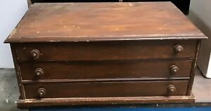 Vintage 3 Drawer Solid Wood Spool Cotton Thread Cabinet Country Store Display