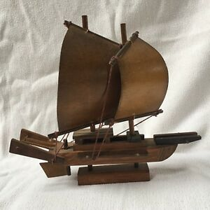 Model Wooden Sail Boat Ship Nautical Decore