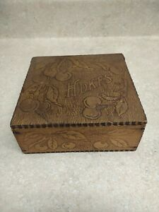 Antique Flemish Wood Handkerchief Box Folk Art Cherry Design