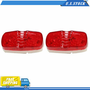 Pair Red Trailer Side Marker Led Light Double Bullseye 10 Diodes Clearance Lamps