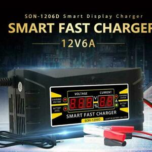 12v 6a Auto Fast Lead Acid Gel Battery Charger Maintainer For Car Motorcycle Lcd