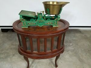 Aj Damai Vintage Cast Iron Candy Scale Green Tone Old Scale Antique Brass Lot