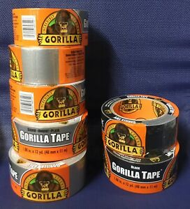 7 Gorilla Duct Tape 1 88 In X 12 Yd 5 Silver 2 Black New Free Ship