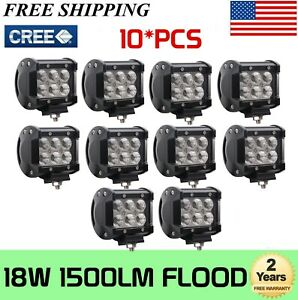 10x 4inch 18w Square Led Work Lights Flood Beam Offroad Driving Fog Lamp 12v 24v