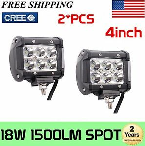 2x 4inch 18w Led Work Light Spot Pods Ute Suv Bumper Reverse Lamps Tractor Truck