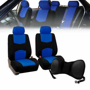 Front Bucket Seat Covers Blue With Seat Back Cushion Pad Black For Auto Car Suv